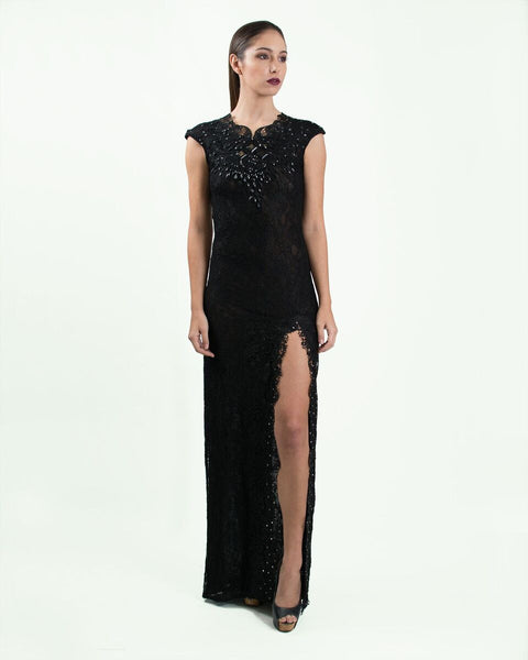 Black Lace and Crystal Embellished Gown