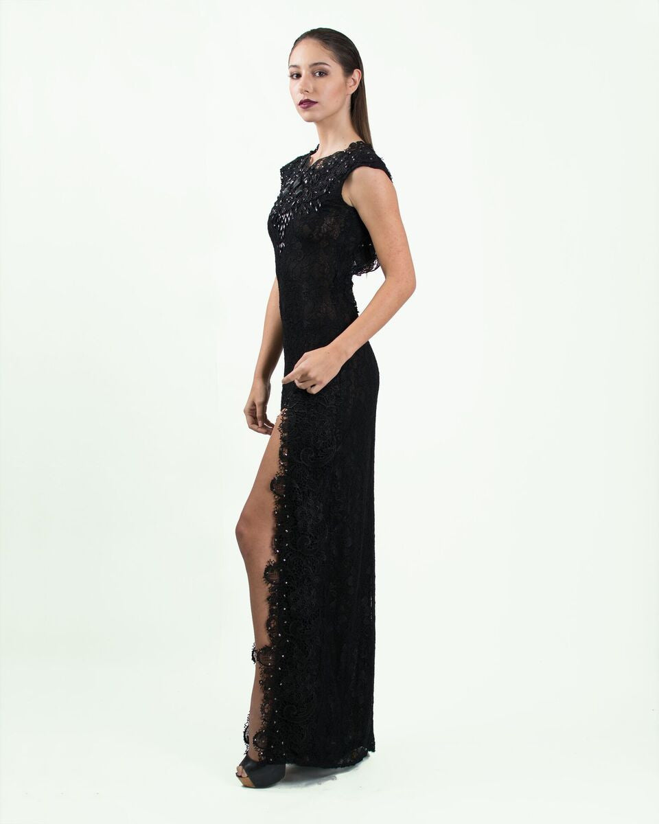 Black Lace and Crystal Embellished Gown – Adolfo Sanchez