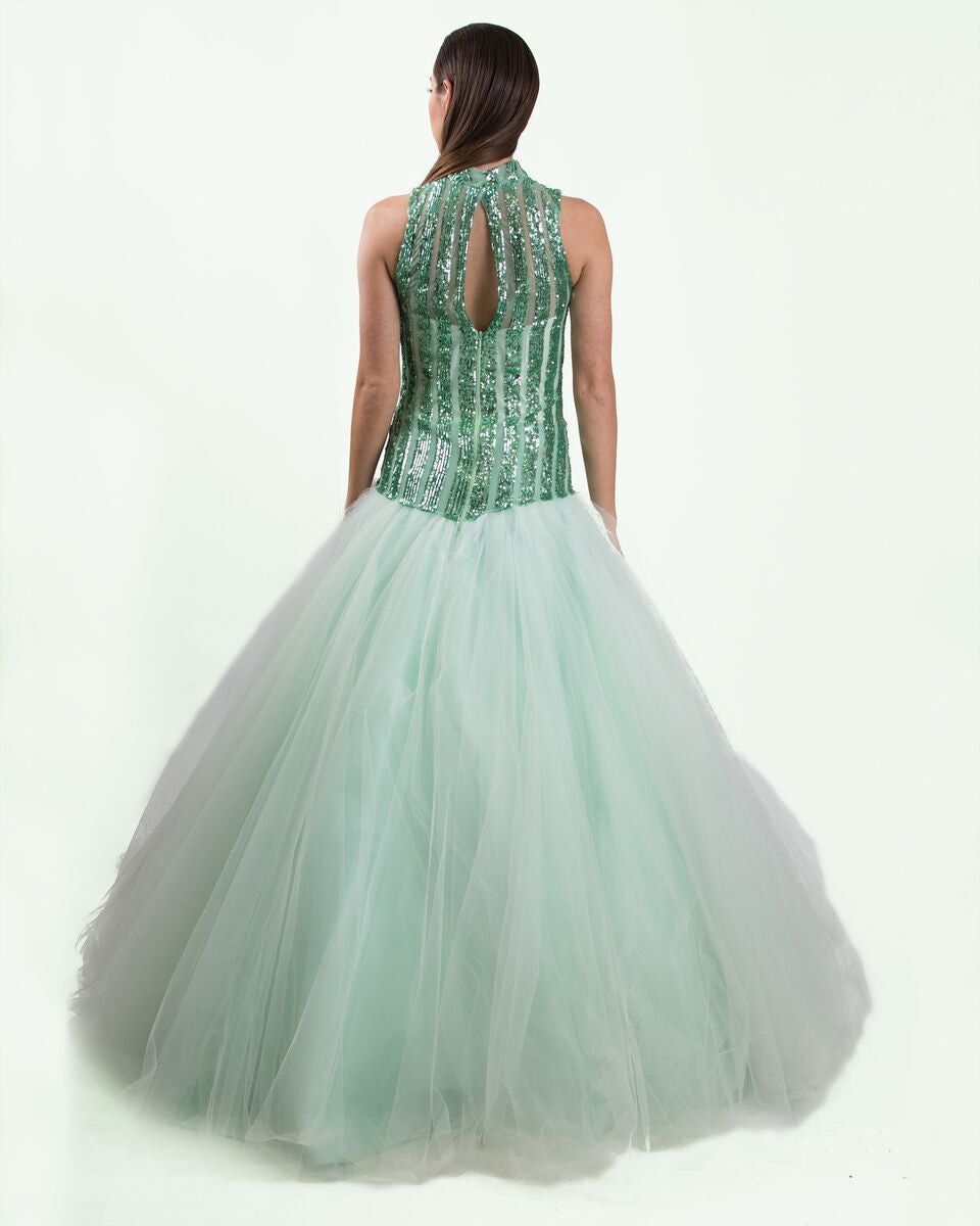 Mint Sequin Ball Gown