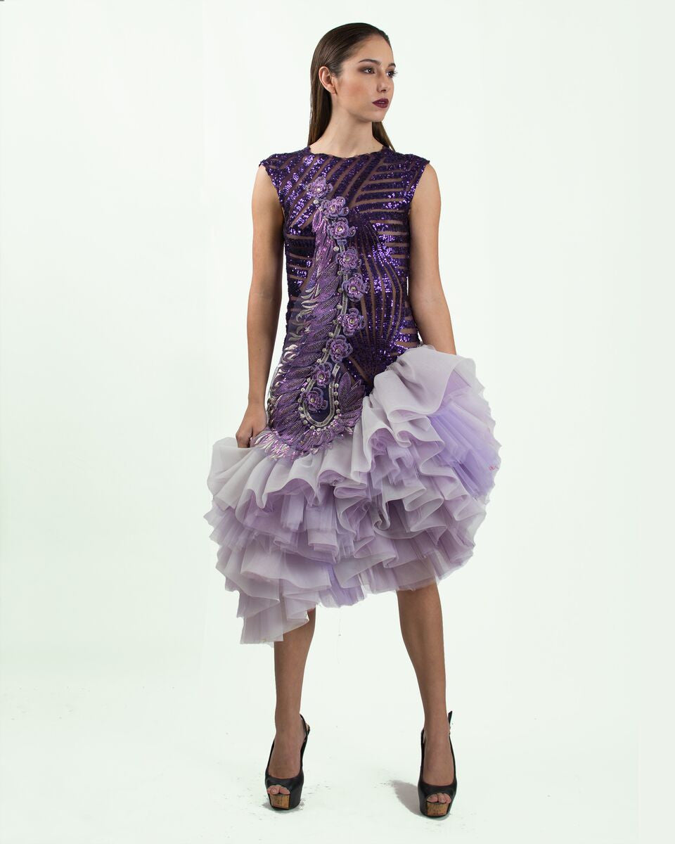 Purple Sequin Ruffled Dress