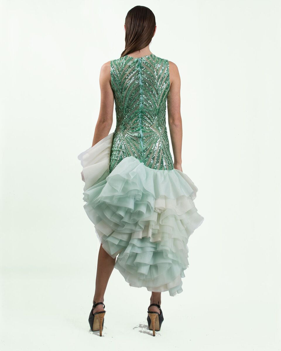 Mint  Sequin Ruffled Dress