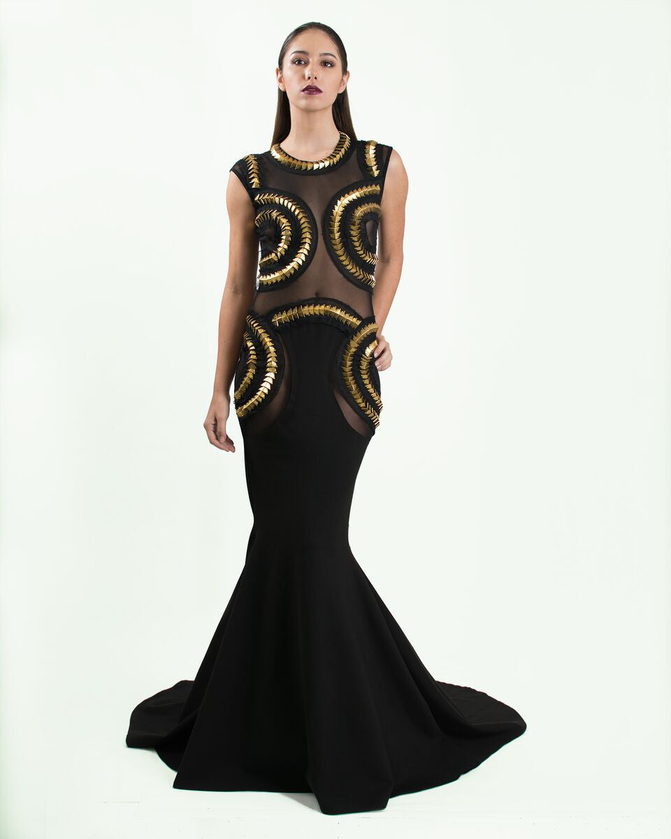 Black & Gold Studded Gown