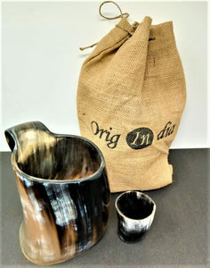 ORIGINDIA The Genuine Handcrafted Authentic Viking Drinking Horn Mug & Free Shot Glass Code02
