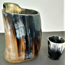 Load image into Gallery viewer, ORIGINDIA The Genuine Handcrafted Authentic Viking Drinking Horn Mug & Free Shot Glass Code02