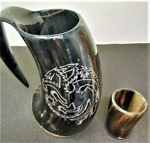 Load image into Gallery viewer, ORIGINDIA The Genuine Handcrafted Authentic Viking Drinking Horn Mug & Free Shot Glass Code01