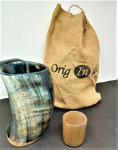 Load image into Gallery viewer, ORIGINDIA The Genuine Handcrafted Authentic Viking Drinking Horn Mug & Free Shot Glass Code03