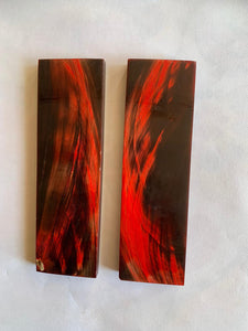"ORIGINDIA Red Buffalo Horn with Streaks Scales 5"" x 1-1/2"" x 3/8"" inch Handle Set Pair 