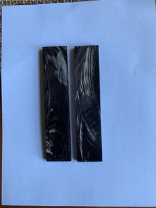 "ORIGINDIA Black Buffalo Horn with Streaks Scales 5"" x 1-1/2"" x 3/8"" inch Handle Set Pair 