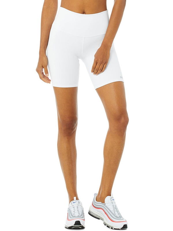 ALO High-Waist Biker Short In White
