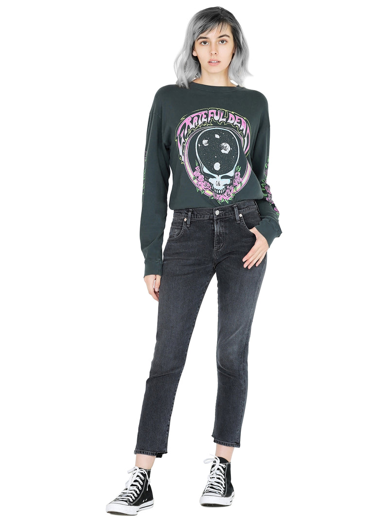 Citizens Of Humanity Elsa Mid Rise Slim Fit Crop In Monochrome