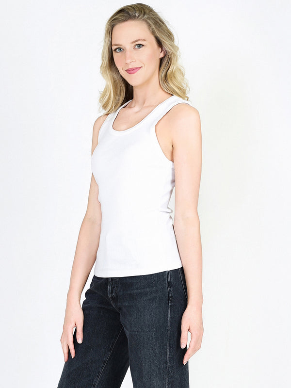 AGOLDE Poppy Scoop Neck Tank In Tissue