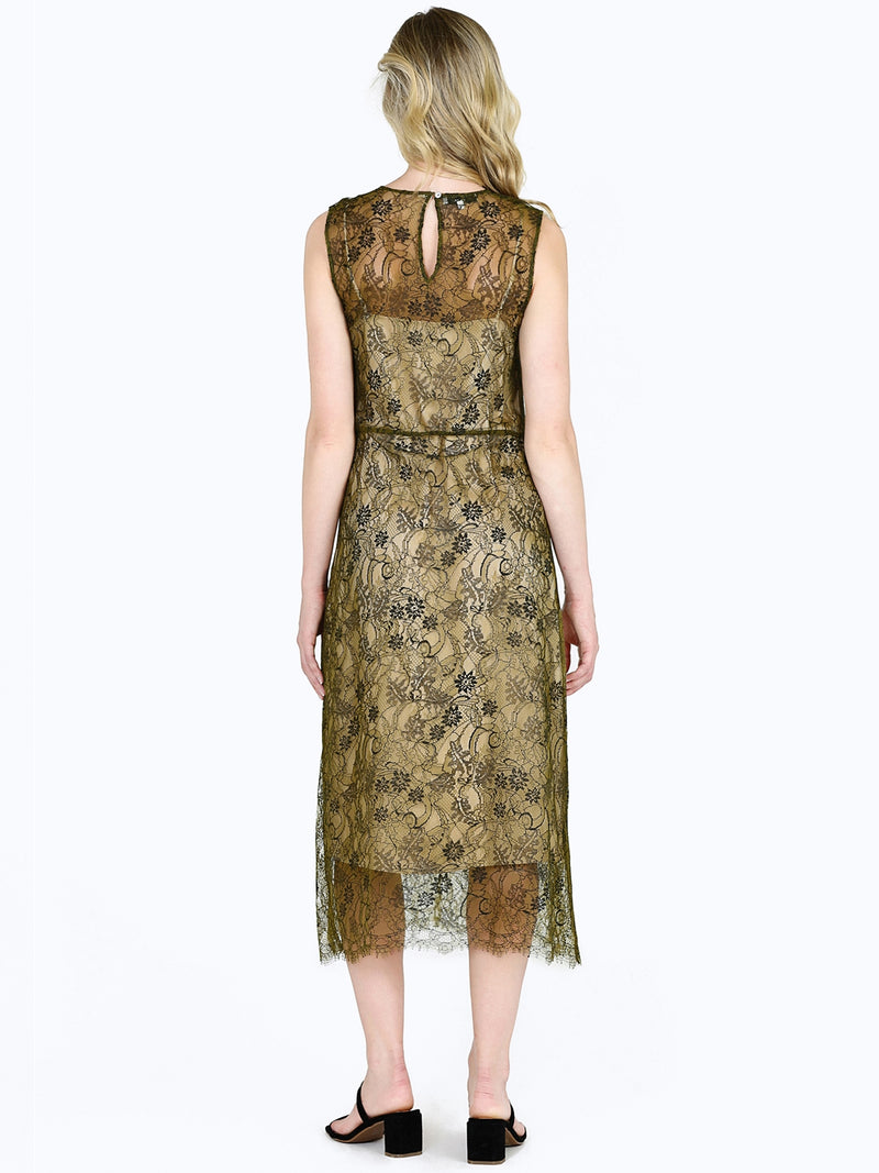 Vince Sleeveless Lace Dress In Botanica