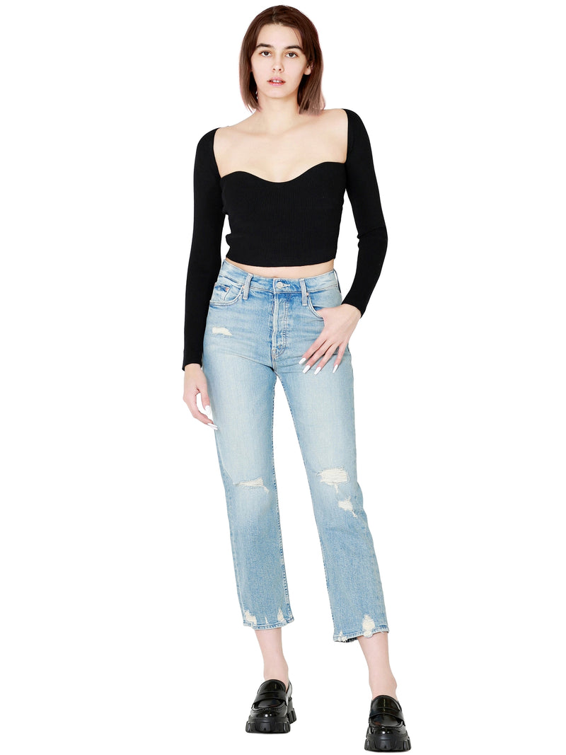 MOTHER Superior The Tomcat Straight Cropped Light Denim Jeans In Confession