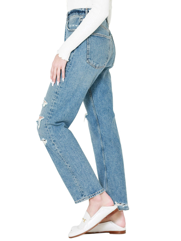 AGOLDE 90's Mid Rise Loose Fit Distressed Straight Leg Jeans In Streamline
