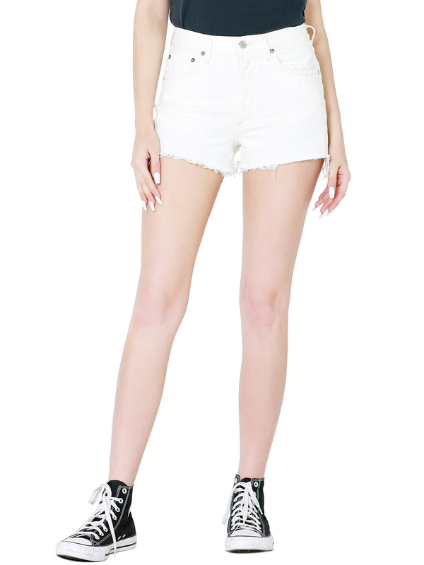 AGOLDE Parker Vintage Cut Off Shorts In Platinum
