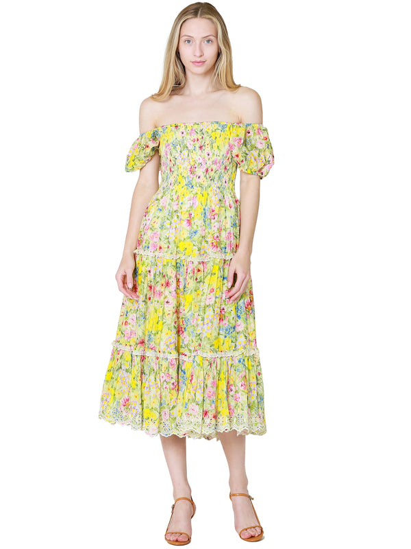 LoveShackFancy Masie Midi Dress In Rainbow Skies