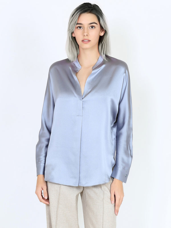 Vince Satin Band Collar Blouse In Piero Blue
