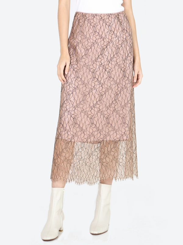 Vince Lace Slip Skirt In Mauve Orchid