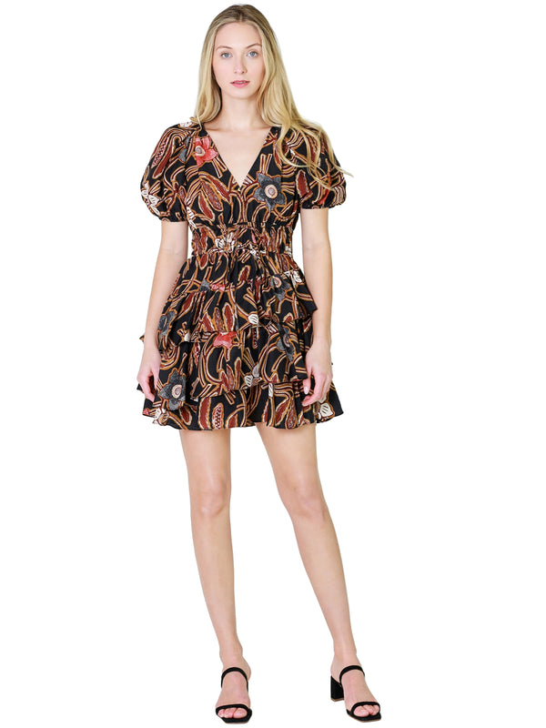 Vince Ruched Double V-Neck Dress In Black