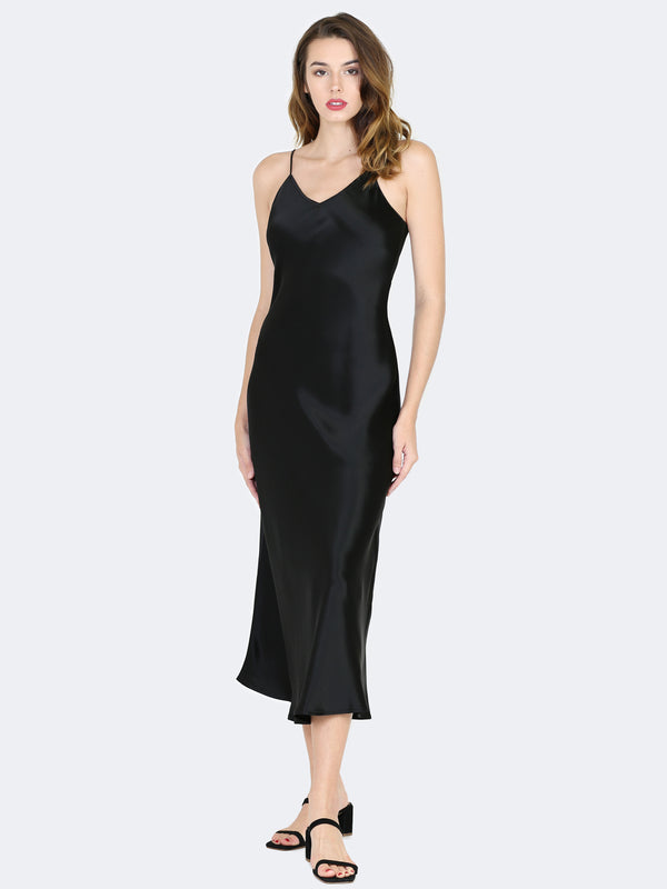 Sympathique Satin Slip Dress in Black