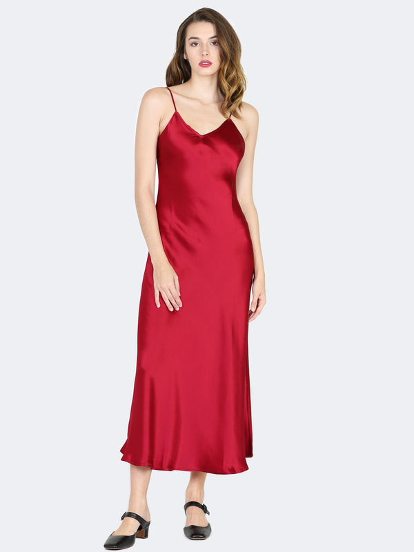 Sympathique Satin Slip Dress in Burgundy