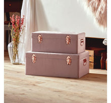 Load image into Gallery viewer, Set of 2 Velvet Storage Trunks - Pink