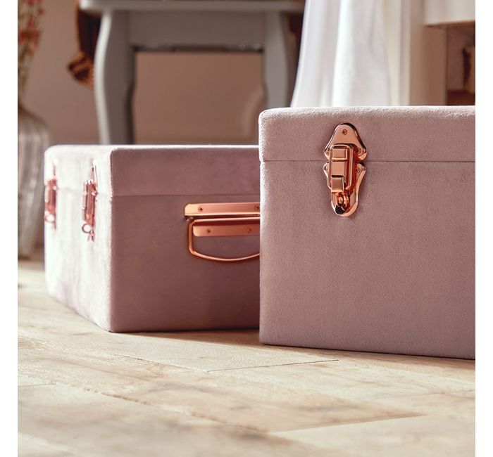 Set of 2 Velvet Storage Trunks - Pink