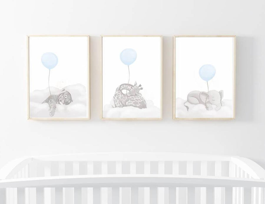 Sleeping Baby Safari Trio Wall Prints - Grey