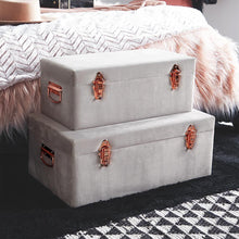 Load image into Gallery viewer, Set of 2 Velvet Storage Trunks - Grey