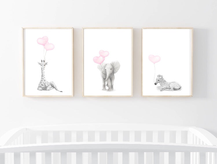 The Safari Trio - Grey Sketch Wall Prints