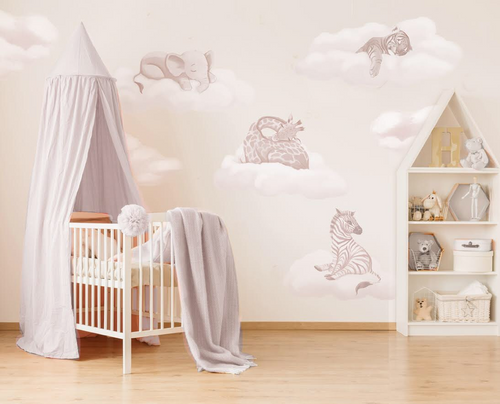 Safari Cloud Baby Wall Stickers - Full Sets & Individual Animals