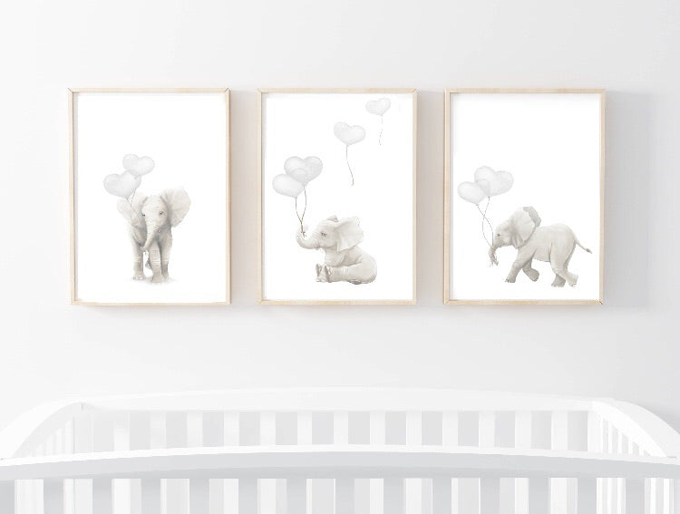 The Elephant Trio - Heart Balloons Wall Prints