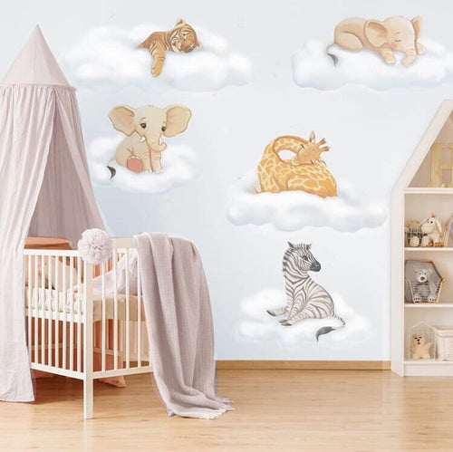 Safari Cloud Baby Wall Stickers - Full Sets & Individual Animals - Colour