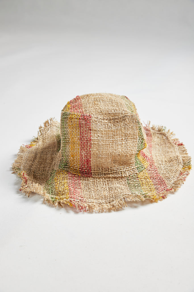 Numbat Hemp Frayed Edge Safari Hat - Multicolour