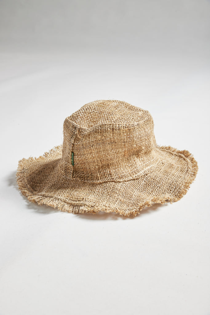 Numbat Hemp Frayed Edge Safari Hat - Natural