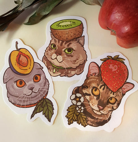 SUZE ART Fruit Hat Cat Stickers, assorted