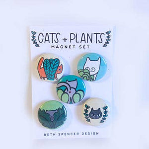 BETH SPENCER Cats + Plants Magnets
