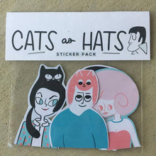 Load image into Gallery viewer, BETH SPENCER Cats as Hats Sticker Set