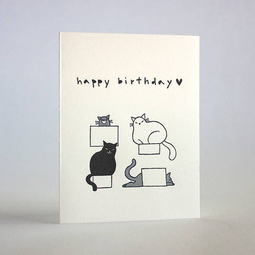 FUGU FUGU PRESS Birthday Cats In Boxes Card