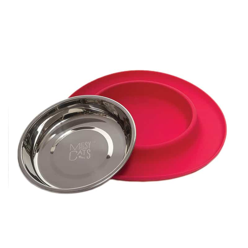 MESSY CATS Silicone Feeder, Red