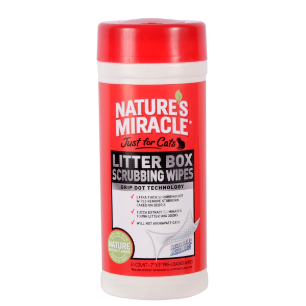 NATURE'S MIRACLE Litter Box Scrubbing Wipes