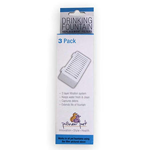 PIONEER PET Drinking Fountain T-Shaped Filters, 3 pack