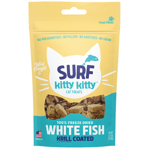 TREAT PLANET Surf Kitty Kitty Freeze-Dried Krill-Coated Whitefish Treats, 21g