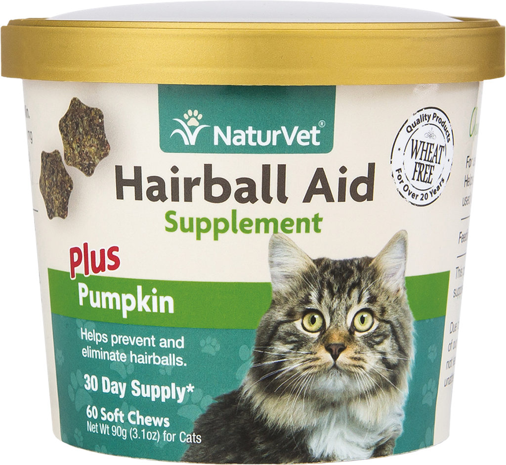 NATURVET Soft Chew Hairball Plus Pumpkin, 60ct