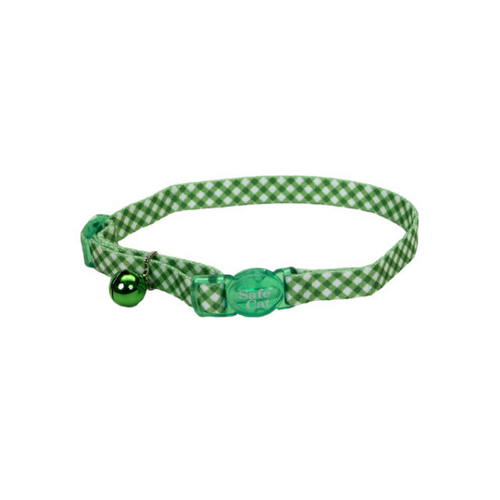 COASTAL SafeCat Fashion Adjustable Breakaway Collar, Checkered Green