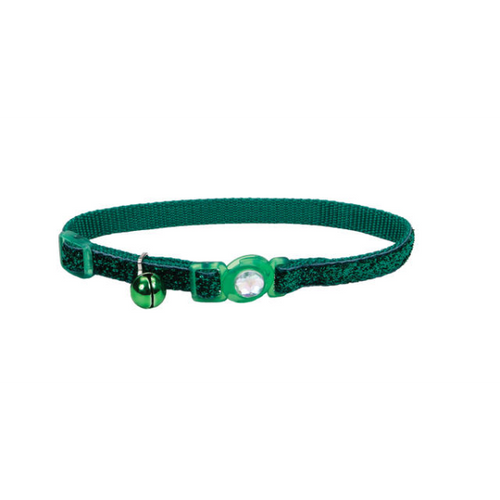 COASTAL SafeCat Jewel Buckle Adjustable Breakaway Collar w/Glitter Green, 12