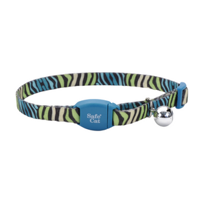 COASTAL SafeCat Breakaway Collar, Teal Zebra