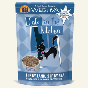 CATS IN THE KITCHEN 1 if By Land 2 if By Sea Tuna, Beef & Salmon in Gravy, 85g pouch