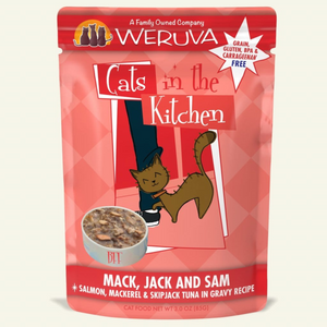 WERUVA Cats in the Kitchen Mack, Jack and Sam, 3oz Pouch