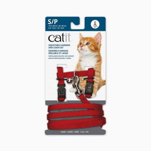 CATIT Adjustable Harness & Leash Set Red, Small
